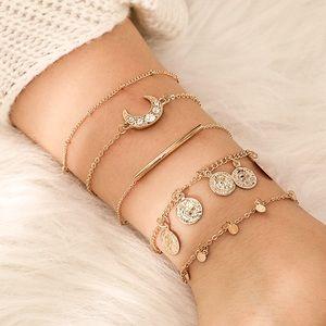 Jewelry - Curated Set of 5 Gold/Crystal Boho Bracelet Set